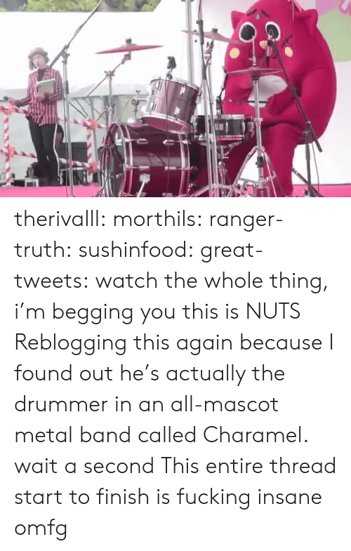 Tweets: therivalll:  morthils:  ranger-truth:  sushinfood:  great-tweets:  watch the whole thing, i'm begging you  this is NUTS   Reblogging this again because I found out he's actually the drummer in an all-mascot metal band called Charamel.  wait a second   This entire thread start to finish is fucking insane omfg