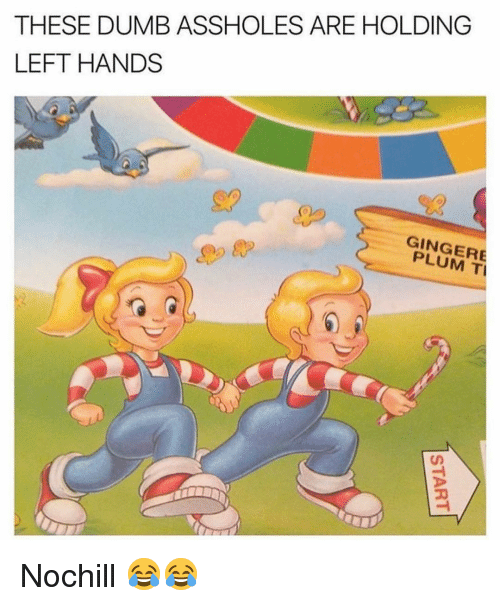 Dumb, Funny, and Ginger: THESE DUMB ASSHOLES ARE HOLDING  LEFT HANDS  GINGER  PLUM T Nochill 😂😂