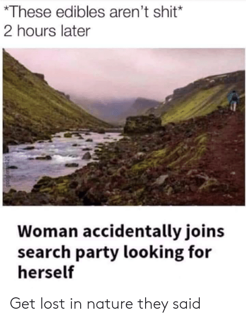 edibles: *These edibles aren't shit*  2 hours later  Woman accidentally joins  search party looking for  herself Get lost in nature they said