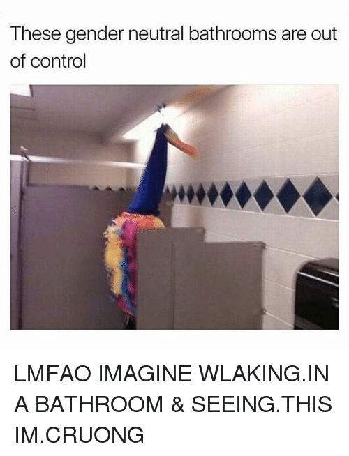 Control, Girl Memes, and Lmfao: These gender neutral bathrooms are out  of control LMFAO IMAGINE WLAKING.IN A BATHROOM & SEEING.THIS IM.CRUONG