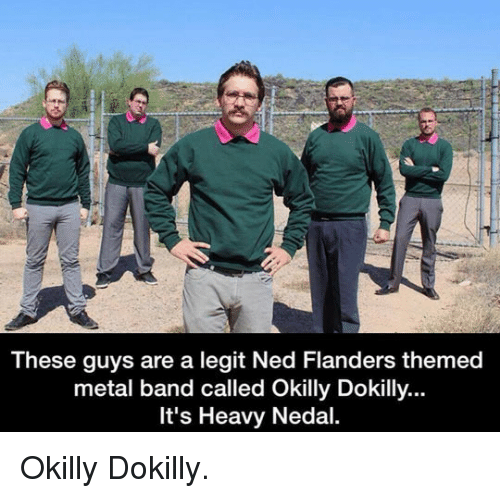 Ned Flanders: These guys are a legit Ned Flanders themed  metal band called Okilly Dokilly...  It's Heavy Nedal. <p>Okilly Dokilly.</p>