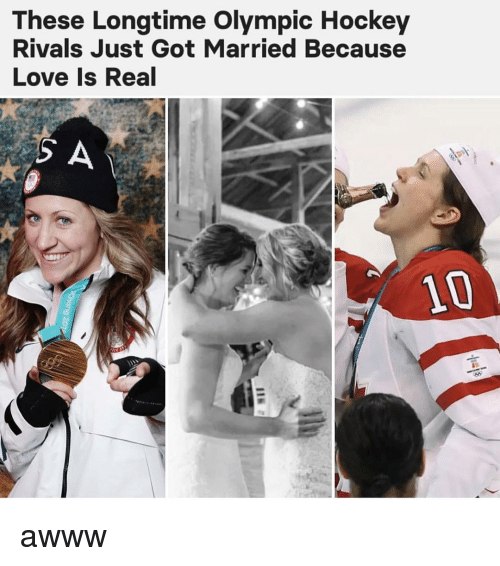 olympic: These Longtime Olympic Hockey  Rivals Just Got Married Because  Love Is Real  10 awww