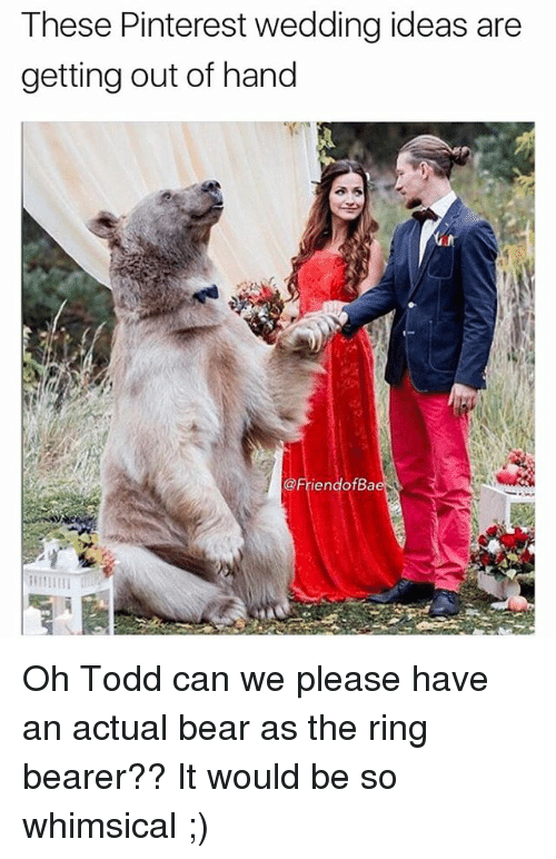 gets-out-of-hand: These Pinterest wedding ideas are  getting out of hand  iendofBa Oh Todd can we please have an actual bear as the ring bearer?? It would be so whimsical ;)