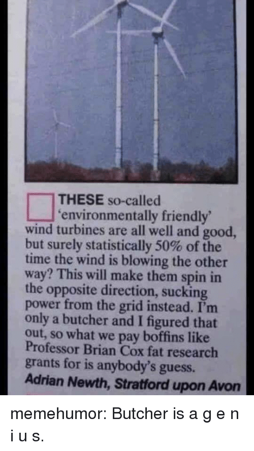 Butcher: THESE so-called  environmentally friendly  wind turbines are all well and good,  but surely statistically 50% of the  time the wind is blowing the other  way? This will make them spin in  the opposite direction, sucking  power from the grid instead. I'm  only a butcher and I figured that  out, so what we pay boffins like  Professor Brian Cox fat research  grants for is anybody's guess.  Adrian Newth, Stratford upon Avon memehumor:  Butcher is a g e n i u s.