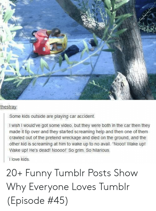 """Tumblr Posts: thestray:  Some kids outside are playing car accident.  I wish I would've got some video, but they were both in the car then they  made it tip over and they started screaming help and then one of them  crawled out of the pretend wreckage and died on the ground, and the  other kid is screaming at him to wake up to no avail. """"Nooo! Wake up!  Wake up! He's dead! Noooo!' So grim. So hilarious.  1 love kids 20+ Funny Tumblr Posts Show Why Everyone Loves Tumblr (Episode #45)"""