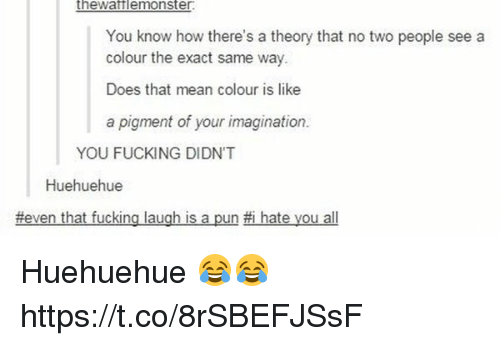 I Hate You All: thewafflemonster  You know how there's a theory that no two people see a  colour the exact same way.  Does that mean colour is like  a pigment of your imagination.  YOU FUCKING DIDNT  Huehuehue  #even that fucking laugh is a pun-i hate you all Huehuehue 😂😂 https://t.co/8rSBEFJSsF