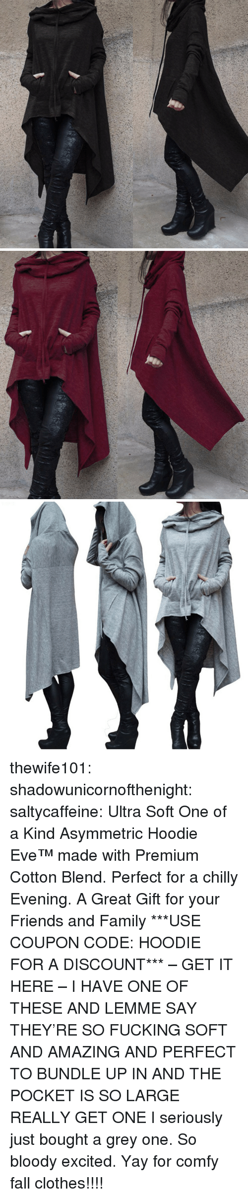Clothes, Fall, and Family: thewife101:  shadowunicornofthenight:  saltycaffeine:  Ultra Soft One of a Kind Asymmetric Hoodie Eve™made with Premium Cotton Blend. Perfect for a chilly Evening. A Great Gift for your Friends and Family ***USE COUPON CODE: HOODIE FOR A DISCOUNT*** – GET IT HERE –   I HAVE ONE OF THESE AND LEMME SAY THEY'RE SO FUCKING SOFT AND AMAZING AND PERFECT TO BUNDLE UP IN AND THE POCKET IS SO LARGE REALLY GET ONE   I seriously just bought a grey one. So bloody excited. Yay for comfy fall clothes!!!!