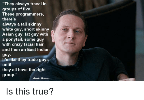 """gavin: """"They always travel in  groups of five.  These programmers,  there'S  always a tall skinny  white guy, short skinny  Asian guy, fat guy with  a ponytail, some guy  with crazy facial hair  and then an East Indiarn  guy  It's like they trade guys  until  they all have the right  group.""""  Gavin Belson Is this true?"""