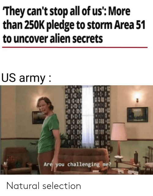 Selection: They can't stop all of us': More  than 250K pledge to storm Area 51  to uncover alien secrets  US army  HR  Are you challenging me? Natural selection