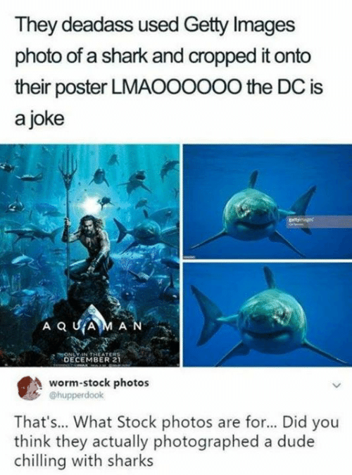 Dank, Dude, and Shark: They deadass used Getty Images  photo of a shark and cropped it onto  their poster LMAOO0OOO the DC is  a joke  HONLY IN THEATERS  DECEMBER 2  worm-stock photos  @hupperdook  That's... What Stock photos are for... Did you  think they actually photographed a dude  chilling with sharks