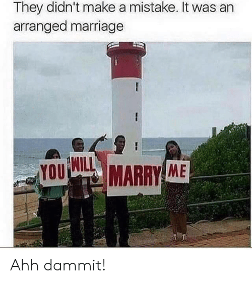 Dammit: They didn't make a mistake. It was an  arranged marriage  YOU  MARRY ME Ahh dammit!
