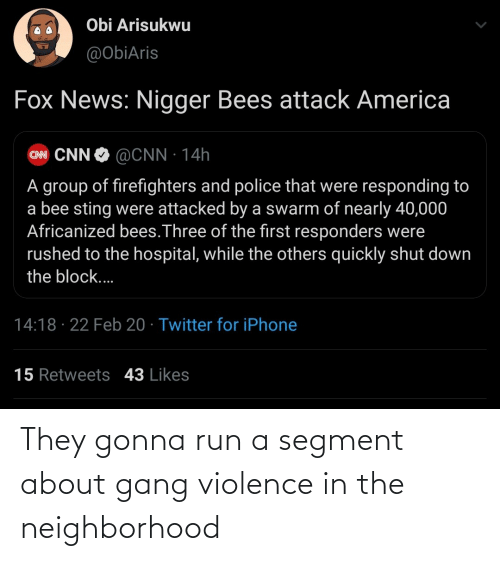 Gang: They gonna run a segment about gang violence in the neighborhood