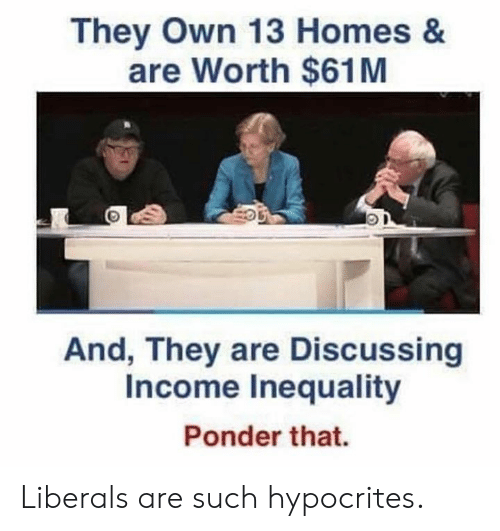 Irs, Memes, and 🤖: They Own 13 Homes &  are Worth $61M  And, They are Discussing  Income Inequality  Irs  Ponder that. Liberals are such hypocrites.