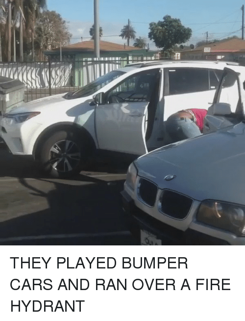 bumper cars: THEY PLAYED BUMPER CARS AND RAN OVER A FIRE HYDRANT