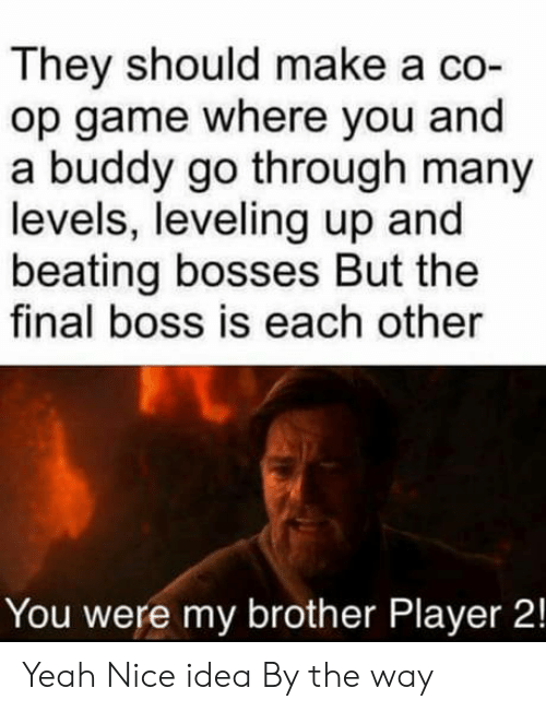 by the way: They should make a co-  op game where you and  a buddy go through many  levels, leveling up and  beating bosses But the  final boss is each other  You were my brother Player 2! Yeah Nice idea By the way