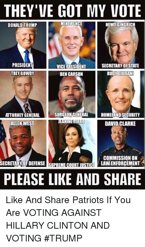 Ben Carson, Donald Trump, and Hillary Clinton: THEY'VE GOT MY VOTE  MIKE PENCE  NEWT GINGRICH  DONALD TRUMP  PRESIDENT  SECRETARY OF STATE  VICE PRESIDENT  TREY GOWDY  BEN CARSON  RUDY GIULIANI  SURGEON GENERAL  ATTORNEY GENERAL  HOMELAND SECURITY  1,1  DAVID CLARKE  ALLEN WEST  COMMISSION ON  LAVNENFORCEMENT  SECRETARY OFDEFENSE SUPREME COURT JUSTICE  PLEASE LIKE AND SHARE Like And Share Patriots If You Are VOTING AGAINST HILLARY CLINTON AND VOTING #TRUMP