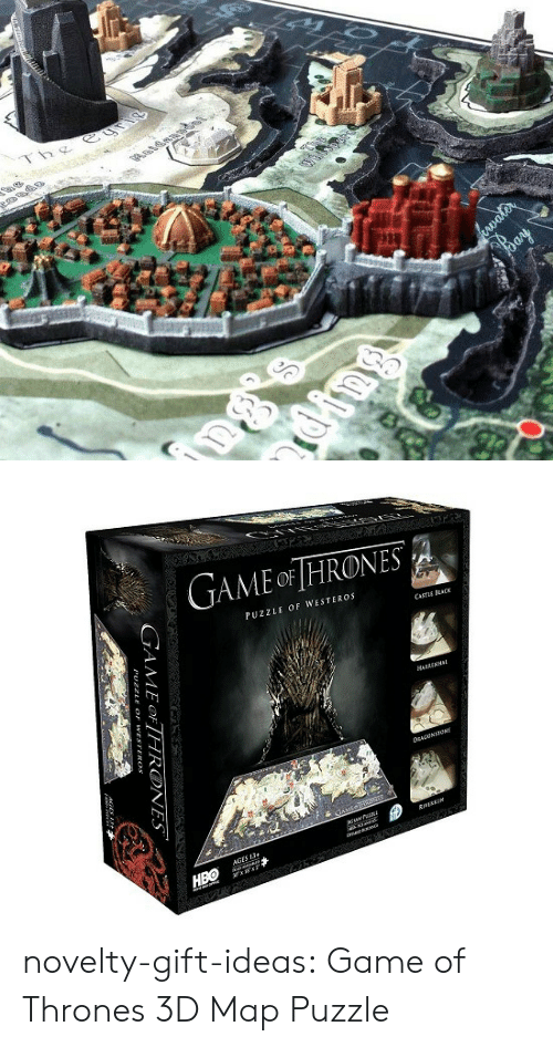 puzzle: Thg  1   GAME oF HRONES  PUZZLE OF WESTEROS  CASTuE CK  HARRENHI  誘:1  靃*  AGES 13 novelty-gift-ideas:  Game of Thrones 3D Map Puzzle