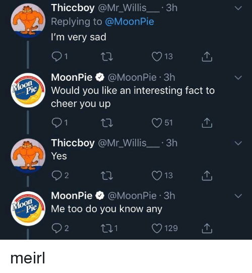 willis: Thiccboy @Mr_Willis.3h  Replying to @MoonPie  I'm very sad  13  MoonPie @MoonPie 3h  on  Pould you like an interesting fact to  cheer you up  O51  Thiccboy @Mr_Willis.3h  Yes  O13  MoonPie @MoonPie 3h  oon  ylopie Me too do you know any meirl