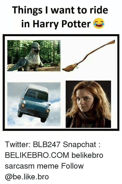 Sarcasmism: Things I want to ride  in Harry Potter Twitter: BLB247 Snapchat : BELIKEBRO.COM belikebro sarcasm meme Follow @be.like.bro