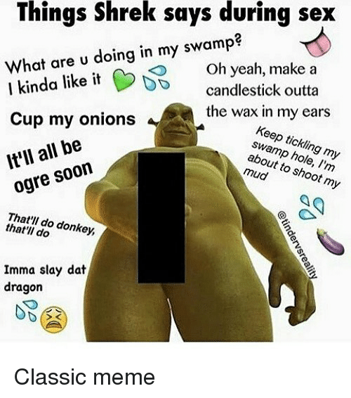 Dank, Donkey, and Meme: Things Shrek says during sex  yeah, make a  What are u doing in my swamp?  I kinda lke it O ye  nda like itcandlestick outta  wax in my ears  theKeep tickling my  Cup my onions  swamp hole, I'm  about to shoot my  It'll all be  ogre soon  That'll do donkey,  that'll do  Imma slay dat  dragon Classic meme
