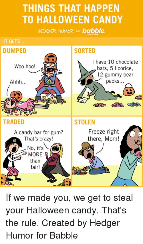 Candy, Crazy, and Dank: THINGS THAT HAPPEN  TO HALLOWEEN CANDY  HEDGER HUMOR for babble.  IT GETS  DUMPED  SORTED  I have 10 chocolate  Woo hoo!  bars, 5 licorice,  12 gummy bear  packs.  Ahhh  TRADED  STOLEN  Freeze right  A candy bar for gum?  That's crazy!  there, Mom!  No, it's  MORE  than  fair! If we made you, we get to steal your Halloween candy. That's the rule.   Created by Hedger Humor for Babble
