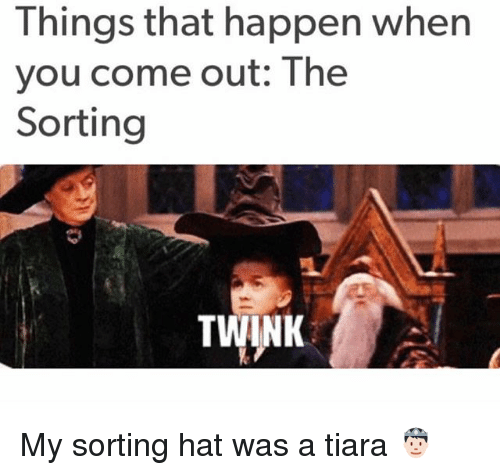 Tiara: Things that happen when  you come out: The  Sorting  TWINK My sorting hat was a tiara 🤴🏻