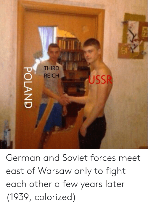 warsaw: THIRD  REICH  USSR German and Soviet forces meet east of Warsaw only to fight each other a few years later (1939, colorized)
