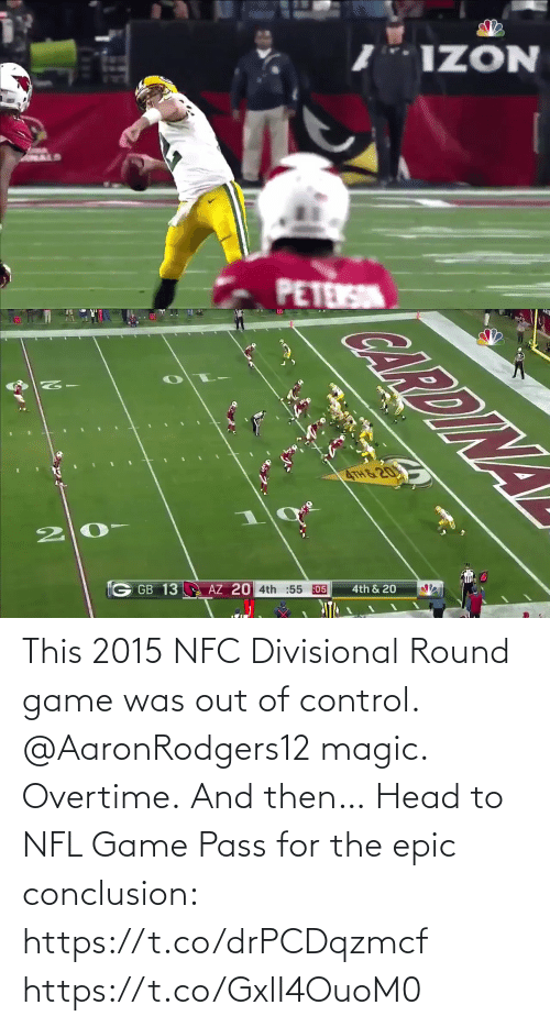pass: This 2015 NFC Divisional Round game was out of control.  @AaronRodgers12 magic. Overtime. And then…   Head to NFL Game Pass for the epic conclusion: https://t.co/drPCDqzmcf https://t.co/GxlI4OuoM0