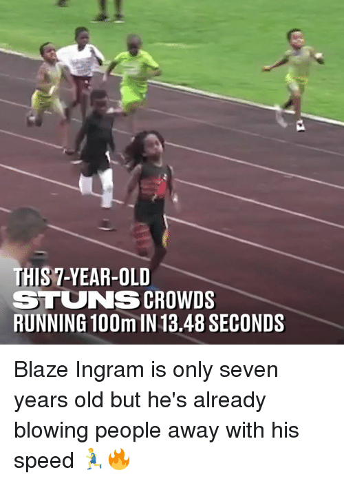 Blaze: THIS 7-YEAR-OLD  STUNS CROWDS  RUNNING 100m IN 13.48 SECONDS Blaze Ingram is only seven years old but he's already blowing people away with his speed 🏃♂️🔥