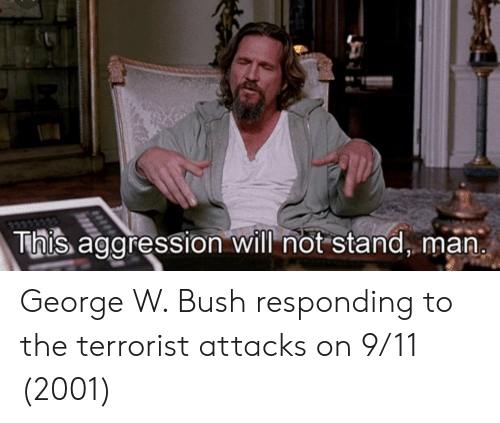 The Terrorist: This aggression will not stand, man George W. Bush responding to the terrorist attacks on 9/11 (2001)