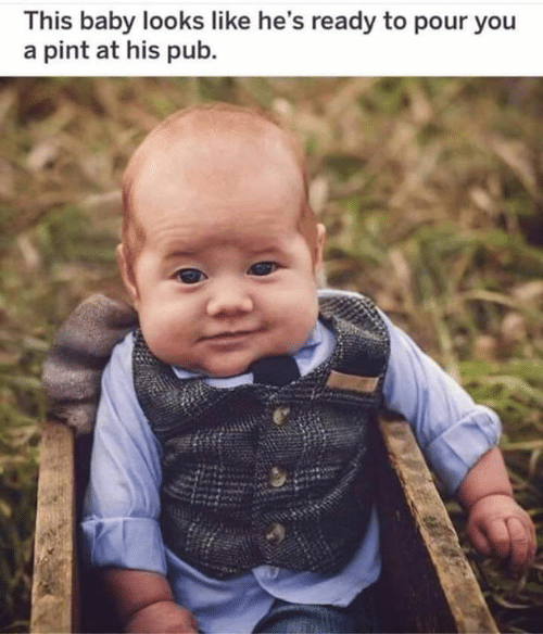 Pub: This baby looks like he's ready to pour you  a pint at his pub