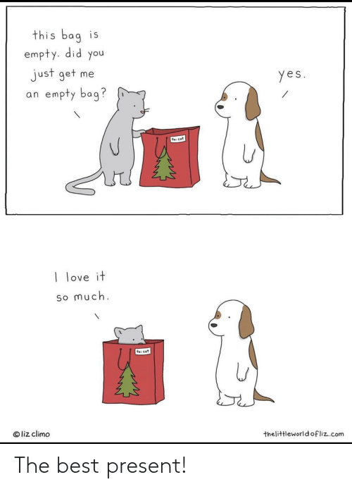 Love, Best, and Cat: this bag is  empty. did you  just get me  an empty bag?  yes.  te: cat  I love it  so much.  to: cat  © liz climo  thelittleworldofliz.com The best present!