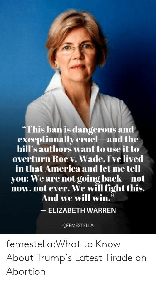 "America, Elizabeth Warren, and Target: ""This ban is dangerous and  exceptionally cruel and the  bill's authors want to use it to  overturn Roe v. Wade. I've lived  merica and let me tell  in that America an  you: We are not going back-not  now, not ever. We will fight this.  And we will win.""  ELIZABETH WARREN  @FEMESTELLA femestella:What to Know About Trump's Latest Tirade on Abortion"