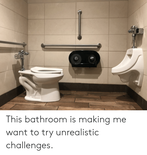 This, Making, and  Want: This bathroom is making me want to try unrealistic challenges.