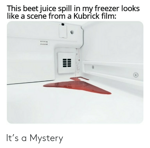 Juice, Film, and Mystery: This beet juice spill in my freezer looks  like a scene from a Kubrick film: It's a Mystery