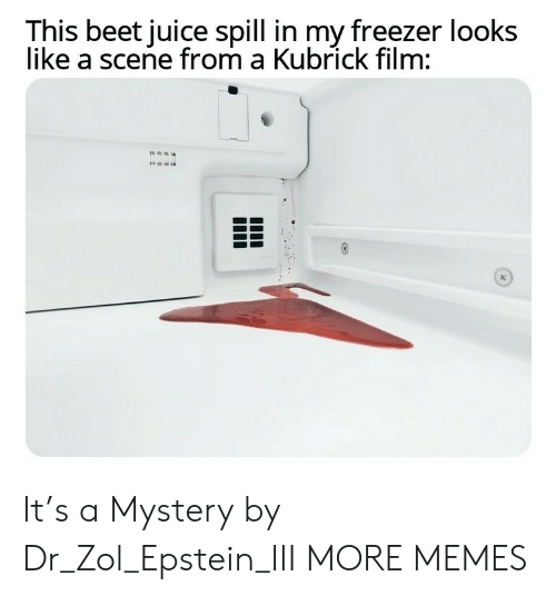 Dank, Juice, and Memes: This beet juice spill in my freezer looks  like a scene from a Kubrick film: It's a Mystery by Dr_Zol_Epstein_III MORE MEMES