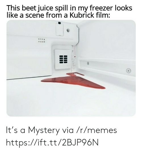 Juice, Memes, and Film: This beet juice spill in my freezer looks  like a scene from a Kubrick film: It's a Mystery via /r/memes https://ift.tt/2BJP96N