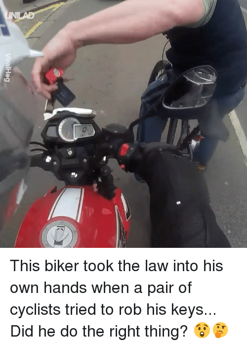 Dank, Do the Right Thing, and 🤖: This biker took the law into his own hands when a pair of cyclists tried to rob his keys... Did he do the right thing? 😲🤔