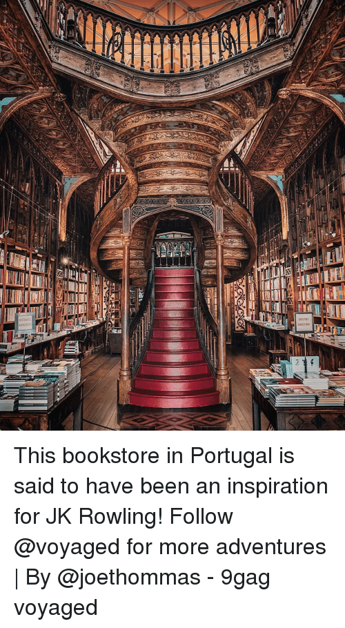 Portugal: This bookstore in Portugal is said to have been an inspiration for JK Rowling! Follow @voyaged for more adventures | By @joethommas - 9gag voyaged