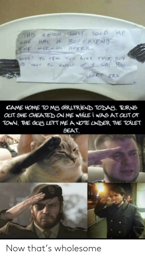 boy friend: THIS CHICK ST ToeD ME  Boy FRIEND  SHE HAS  THE  A  MORNINA AFTER  SOFLT TO TEu vou LIKE THIS, BOT  T KNOW IF  WAS YoU  CANT  SORRY BRO  CAME HOME TO Mg GIRLFRIEND TODAS. TURNS  OLT SHE CHEATED ON ME WHILE I WASAT OUT OF  TOWN. THE GLS LEFT ME A NOTE LNDER THE TOLET  SEAT Now that's wholesome