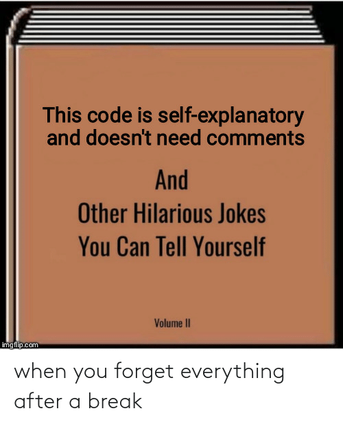 volume: This code is self-explanatory  and doesn't need comments  And  Other Hilarious Jokes  You Can Tell Yourself  Volume II  imgflip.com when you forget everything after a break