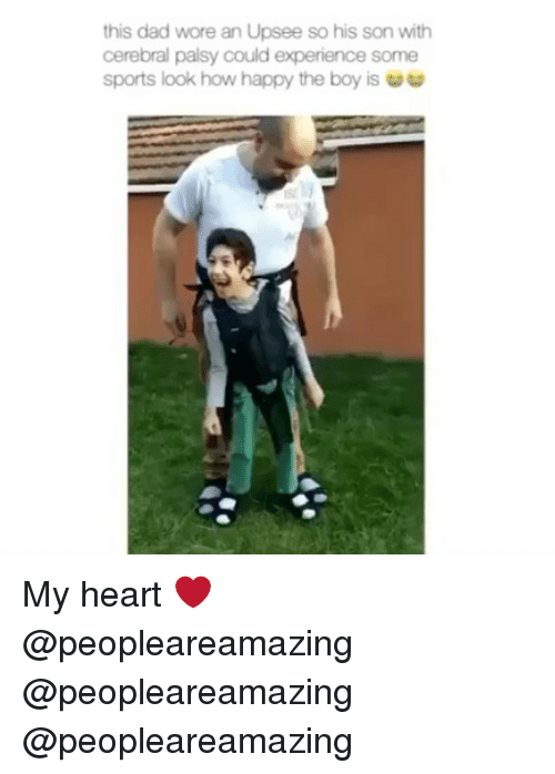 Sportsing: this dad wore an Upsee so his son with  cerebral palsy could experience some  Sports look how happy the boy is  5 My heart ❤️ @peopleareamazing @peopleareamazing @peopleareamazing