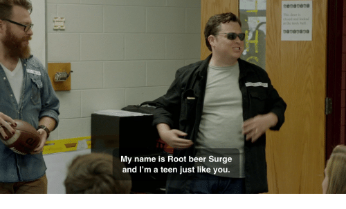 surge: This door is  closed and locked  at the tandy bell  My name is Root beer Surge  and I'm a teen just like you.