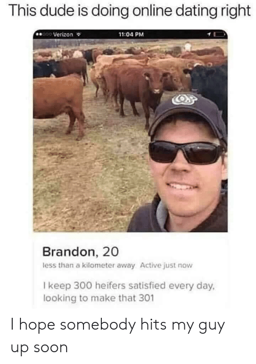 Dating, Dude, and Online Dating: This dude is doing online dating right  Verizon  11:04 PM  Brandon, 20  less than a kilometer away Active just now  I keep 300 heifers satisfied every day,  looking to make that 301 I hope somebody hits my guy up soon