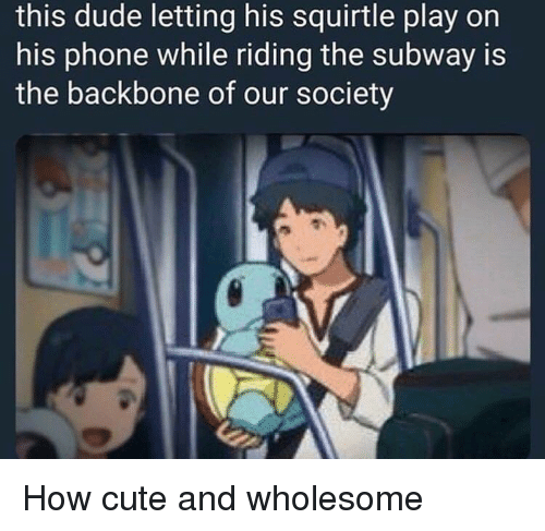 Cute, Dude, and Phone: this dude letting his squirtle play on  his phone while riding the subway is  the backbone of our society How cute and wholesome