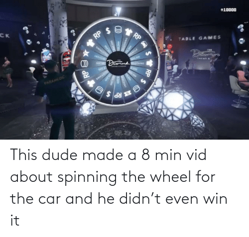 wheel: This dude made a 8 min vid about spinning the wheel for the car and he didn't even win it