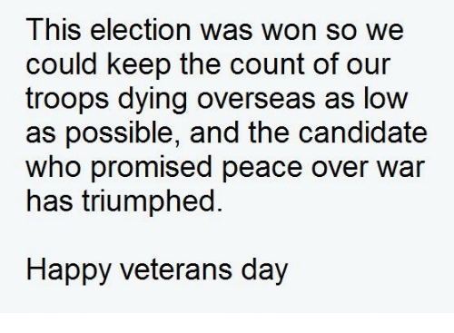 Lowes, Dank Memes, and Candide: This election was won so we  could keep the count of our  troops dying overseas as low  as possible, and the candidate  who promised peace over war  has triumphed.  Happy veterans day
