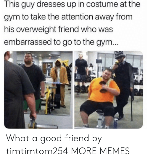 A Good Friend: This guy dresses up in costume at the  gym to take the attention away from  his overweight friend who was  embarrassed to go to the gym... What a good friend by timtimtom254 MORE MEMES