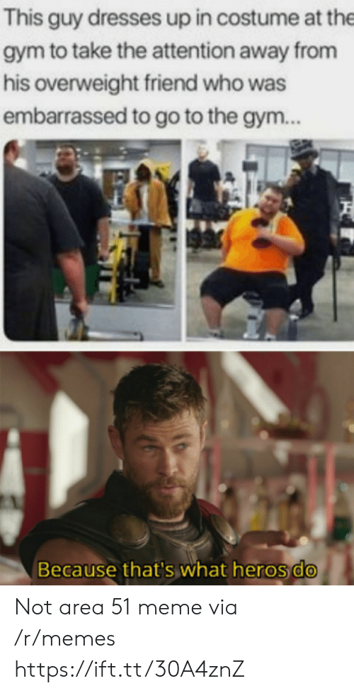 Gym, Meme, and Memes: This guy dresses up in costume at the  gym to take the attention away from  his overweight friend who was  embarrassed to go to the gym..  Because that's what heros do Not area 51 meme via /r/memes https://ift.tt/30A4znZ