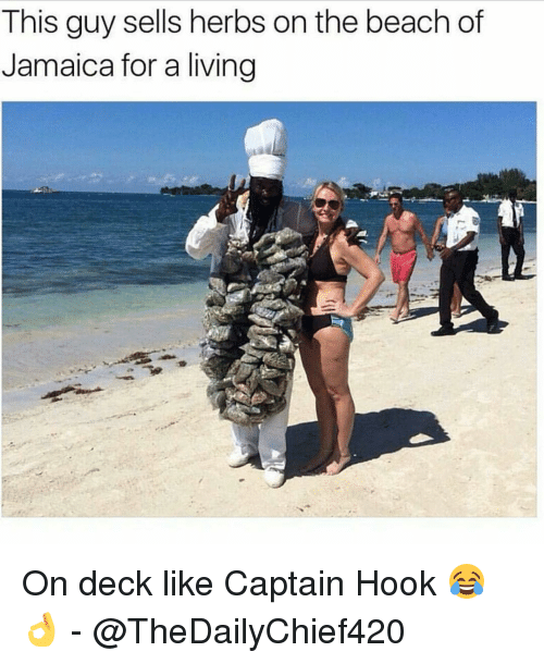 Memes, 🤖, and The Beach: This guy sells herbs on the beach of  Jamaica for a living On deck like Captain Hook 😂👌 - @TheDailyChief420